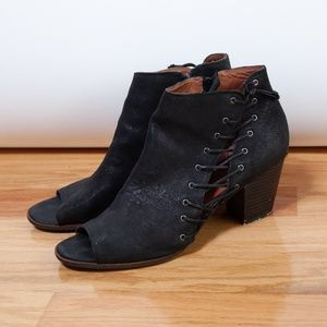 Lucky Brand Black Leather Booties Size 12